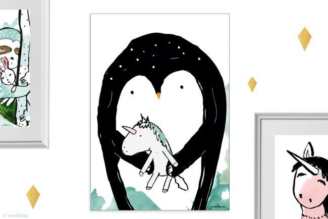 Pinguin Einhorn Poster Print A4 Kunstdruck