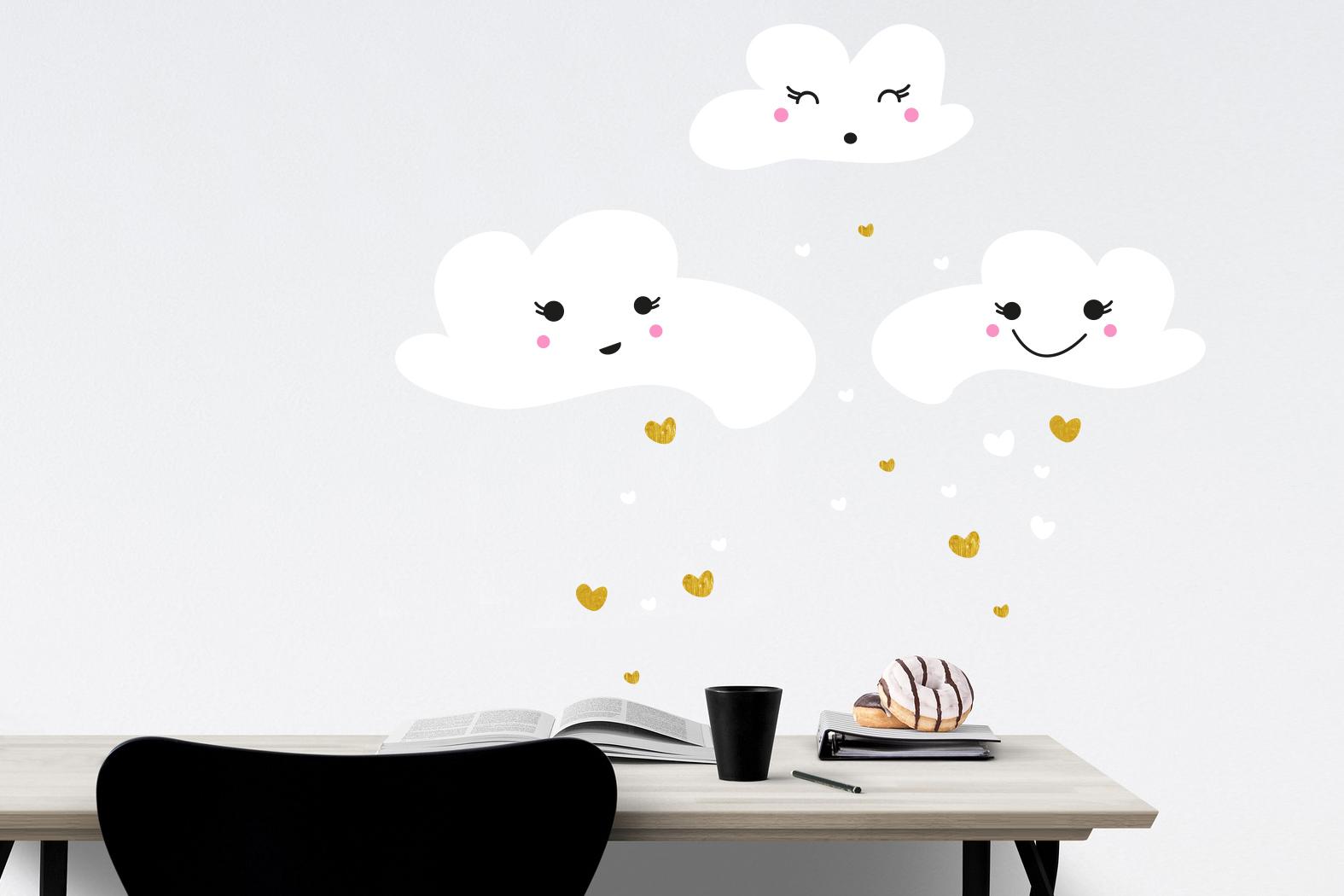 Wandtattoo - Wolken Herzen Kinderzimmer