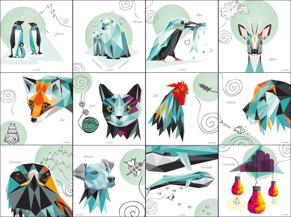 Kalender 2016 monkimia illustrationen