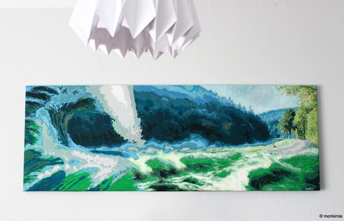 Kunstmeile Lichtenberg Leinwand Überflutung